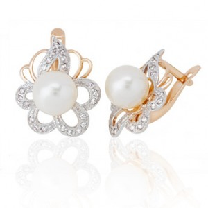 Earrings with pearls and diamonds